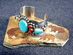 Click to view larger image of Andy Cadman Bracelet Strling Silver Turquoise Spiny Oys (Image7)