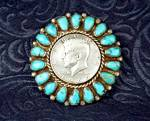 Click to view larger image of Native American Kennedy Brooch Pin 1963 Turquoise Silve (Image2)