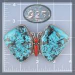 Click to view larger image of Pendant Pin Sterling Silver Turquoise Coral Butterfly N (Image2)