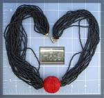Necklace HOBE Red Cloisinee and  Black Beads