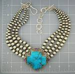 Click to view larger image of David Troutman Kingman Turquoise Sterling Silver Neckla (Image3)