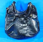 Click to view larger image of Brahmin Black Melbourne Anita Croc Embossed Leather  (Image2)