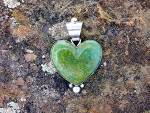 Click to view larger image of Pendant Green Turquoise Serling Silver Heart David Trou (Image4)