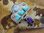 Click to view larger image of David Troutman & GUNDIOpal Turquoise Amethyst Sterling  (Image2)