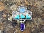 Click to view larger image of David Troutman & GUNDIOpal Turquoise Amethyst Sterling  (Image3)