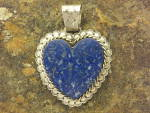 Click to view larger image of David Troutman Afghan Lapis Sterling Silver Heart Penda (Image4)