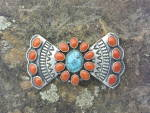 Click to view larger image of A. Cadman Brooch Pin Coral Turquoise Sterling Silver (Image2)