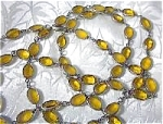 Vintage 48 Inch Oval Amber Glass Necklace