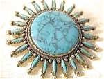 Turquoise Petit Point  Glass  Signed CANCRES Pin/Brooch