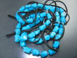 Turquoise & Leather Silver tone Artist Necklace
