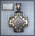 Click to view larger image of Native American Sterling Silver Cross VJ Pinto Pendant (Image2)