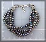 Click to view larger image of Bracelet Black Freshwater Pearls Sterling Silver Clasp (Image3)