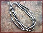 Native American Sterling Silver Oxydized Beads 3 Strand