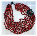 Click to view larger image of Necklace Coral Onyx Flower Necklace 8 Strand (Image2)