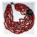 Click to view larger image of Necklace Coral Onyx Flower Necklace 8 Strand (Image5)
