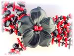 Click to view larger image of Necklace Coral Onyx Flower Necklace 8 Strand (Image6)