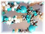 Citrine Turquoise White Gold Freshwater Pearls Necklace