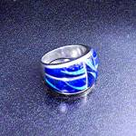 Click to view larger image of Lapis Opal Sterling Silver Inlay Ring Signed GL  (Image2)