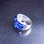Click to view larger image of Lapis Opal Sterling Silver Inlay Ring Signed GL  (Image3)