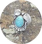 Click to view larger image of KIRK SMITH Sterling Silver SpiderwebTurquoise Ring (Image1)