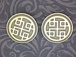 Sterling Silver  and black Ethnic Pattern Clip Earrings