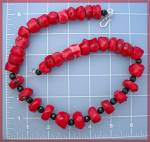 Coral Black Jet Sterling Silver S Clasp Necklace