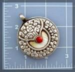 Click to view larger image of Sterling Silver Coral Shell Twin Fish Pendant Nepal (Image4)