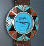Click here to enlarge image and see more about item 33201437: Surrisi Sterling Silver Coral Turquoise Wristwatch