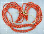Native American Coral 5 Strands Necklace Navajo