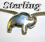 Click to view larger image of Sterling Silver DANECRAFT Chain Buffalo Pendant (Image1)