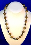 Gold Roses Red Blue  Crystal Bead Necklace