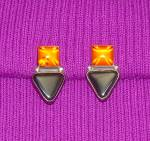 Click to view larger image of Gold Amber Sterling Silver and Onyx Clip Earrings (Image6)