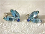 Aqua Crystal Silvertone Set Clip Earrings