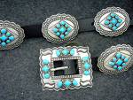 Click here to enlarge image and see more about item 37201673: Navajo Sterling Silver Darrel Cadman  Turquoise Belt