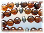 Click to view larger image of Necklace Amber Lucite Beads 28 Inch (Image4)