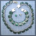 Click to view larger image of Sterling Silver Malachite Necklace Earrings Mexico (Image1)