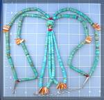Click to view larger image of Santo Domingo Turquoise Spiny Oyster Antique Necklace (Image2)