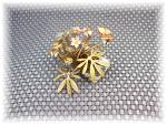 Click to view larger image of Brass Painted Flowers Shell Vines  and Butterfly (Image4)