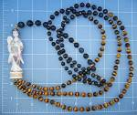 Click to view larger image of 14 K Gold Tiger Eye Blue 2 Strand Faux Netsuke Necklace (Image2)