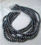EX EX  Freshwater 6.2mm Grey Pearl  Necklace Sterling C