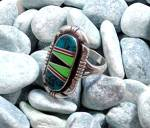 Click to view larger image of Ring Sterling Silver Coral Onyx Turquoise Gaspeite  (Image7)