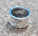 Click to view larger image of Sterling Silver Hammered Design Wide  band Ring (Image6)