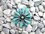 Click to view larger image of Sterling Silver Turquoise Sunburst Pendant (Image5)