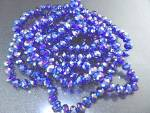 Crystal Bright Blue Irridescent  Faceted Knotted Neckla