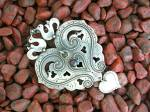 Click to view larger image of Sterling Silver Hearts  Doves Arts  and Crafts Pin (Image6)