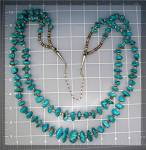 Click to view larger image of Turquoise Heishi Necklace Santo Domingo 2 Strand (Image4)
