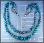 Click to view larger image of Turquoise Heishi Necklace Santo Domingo 2 Strand (Image5)