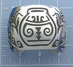 Click to view larger image of Native American Sterling Silver Cuff Signed W (Image6)