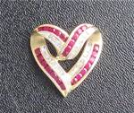 Click to view larger image of 14K Gold Diamond and 25 Ruby Heart Slide Pendant  (Image6)
