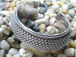 Bracelet Sterling Silver Wide Cuff  Signed BA 56 Grams
